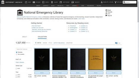 Internet Archiven kansallinen hätätilakirjasto on kaikille avoin – ainakin toistaiseksi. Kuvakaappaus palvelusta.