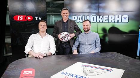 Antti Virolainen (kesk.) ja Saku-Pekka Sundelin (oik.) ovat tänään ruudussa IS Extran livestudiossa.