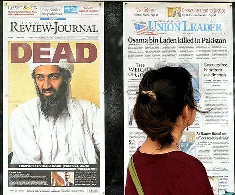 Osama bin Ladenin kuolemasta uutisoitiin 2. toukokuuta 2011.