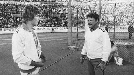 Hannu Siitonen (vas.) ja Jorma Kinnunen heittopaikalla Helsingin EM-kisoissa 1971.