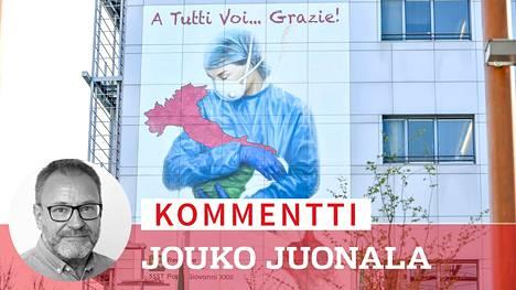 Kaikille teille... kiitoksia! Papa Giovanni XXIII -sairaalan seinään Bergamossa on maalattu viesti koronaepidemiaa vastaan taistelevalle henkilökunnalle.