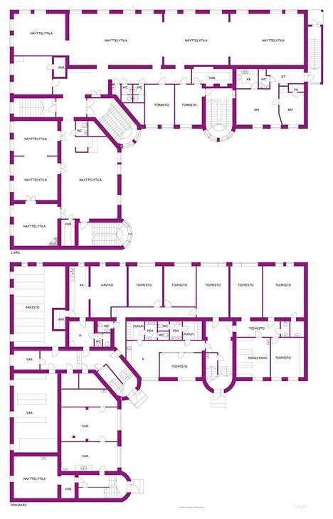 Mannerheim asui nykypäivän mittapuulla peruskaksion kokoisessa asunnossa, jossa oli oma sisäänkäynti. Asunnon sijainti kuvassa oikealla ylhäällä, näyttelytila-huoneen alla.