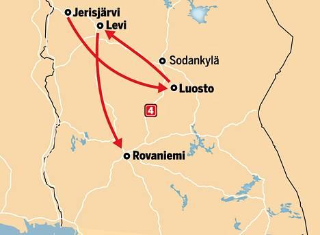 Kolmikko aloitti vierailunsa Luoteis-Lapin Jerisjärveltä, ja päätyivät lopulta joulupukin luo Rovaniemelle.