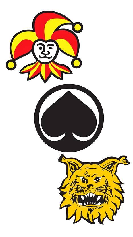 Jokerit (suunnittelija Jorma Hinkka, 1967), Ässät (Vesa Antikainen, 1967) ja Ilves (Rauno Broms, 1962).