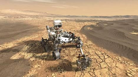 Mars2020 on kunnianhimoinen hanke, jonka tehtävänä on muun muassa etsiä merkkejä elämästä. Taiteilijan havainnekuva.