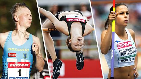 Samuli Samuelsson (vas.), Ella Junnila ja Maria Huntington kilpailivat torstaina Tampereella.