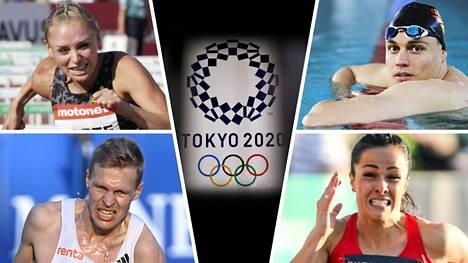 Annimari Korte (vas.ylh.), Ari-Pekka Liukkonen, Topi Raitanen ja Maria Huntington kuuluvat Suomen joukkueeseen Tokion olympialaisissa.