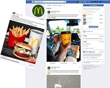 Ihmiset narutetaan Facebookissa ostetuilla mainoksilla (vasemmalla), joiden takana on väärennetty Facebook-sivu. Väärennettyjä poistetaan ripeästi, mutta uusia luodaan samaa tahtia.