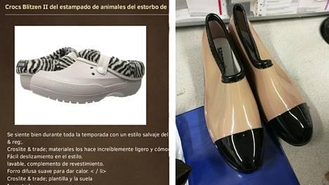 Suomalaisnainen tilasi Crocs-kengät (kuva vas.). Muutaman viikon kuluttua posti toi kengät (kuva oik.).