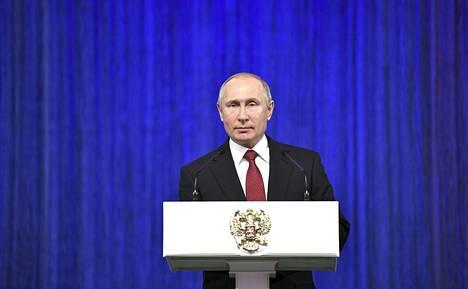 Vladimir Putin piti puheen Venäjän asevoimien päivän kunniaksi Moskovassa.