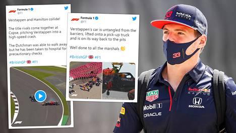 Max Verstappenin auto meni rujoon kuntoon, kun hän kolaroi Britannian GP:n avauskierroksella vauhdikkaassa Copse-mutkassa Lewis Hamiltonin kanssa ja suistui reunavalleihin.