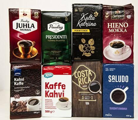 Testiin valittiin suosituimpia suomalaisia, vaaleapaahtoisia kahveja sekä kauppaketjujen omia tuotteita.