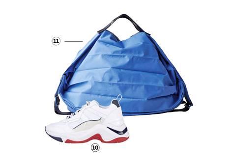 10. Paksupohjaiset tennarit sopivat urheilulliseen tyyliin, 119 €, Tommy Hilfiger. 11. Treenisäkkiin mahtuu uskomaton määrä tavaraa, 69 €, COS.