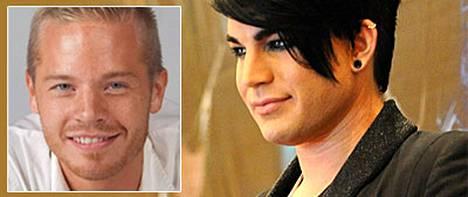 Sauli Koskinen (vas.) ei halua kommentoida suudelmaa Adam Lambertin kanssa.