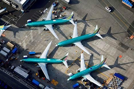 Boeing 737 Max -lentokoneita Washingtonissa, Yhdysvalloissa maaliskuussa.