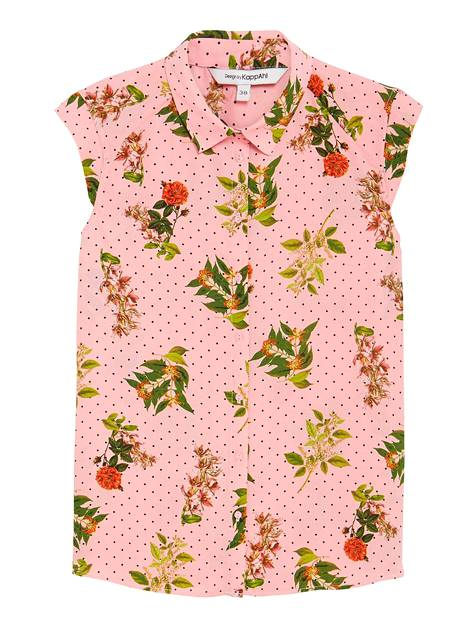 Vaaleanpunainen on ihana valinta kukkakuosin pohjaksi. Hihaton pusero 24,99 €, KappAhl.