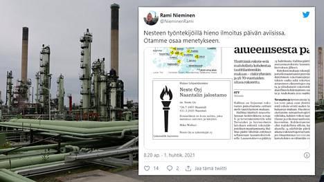"""Turun Sanomissa julkaistusta """"kuolinilmoituksesta"""" twiittasi lehden uutispäällikkö Rami Nieminen."""
