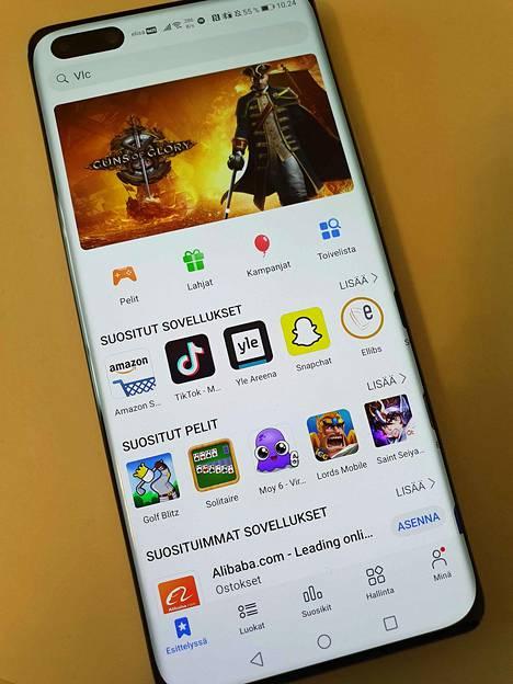 AppGalleryn aloitusnäkymä. Tarjonta on toistaiseksi suppeaa Google Playhyn verrattuna.