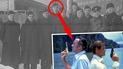 Tuleva Bond-elokuvan tähti Christopher Lee on mitä ilmeisimmin neljäs mies vasemmalta. Hän saapui Suomeen maaliskuun alussa 1940 vapaaehtoisena liittyäkseen sotaan Neuvostoliittoa vastaan. Eräs tunnetuimpia Christopher Leen rooleja oli konnan Scaramangan esittäminen James Bond-elokuvassa Mies ja kultainen ase vuodelta 1974 (pienemmässä kuvassa). Selän takana Roger Moore.