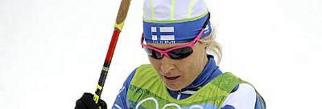 Riitta-Liisa Roponen kaatui naisten parisprintin alkukarsinnassa.