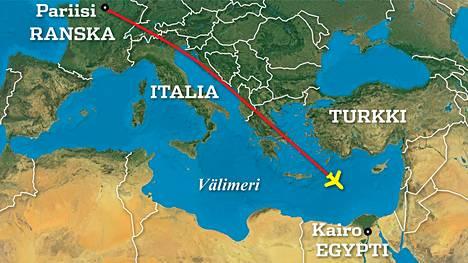 Pariisista Kairoon matkalla ollut EgyptAirin lento MS804 katosi Välimeren yllä.