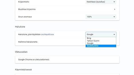 Chromen hakukoneeksi on nyt mahdollista valita DuckDuckGo. Kuvakaappaus selaimen asetuksista.