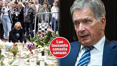 Surijat ovat tuoneet muistokynttilöitä ja kukkia perjantaisen puukotusiskun uhreille Turun kauppatorille. –Meidän on nyt kansakuntana mietittävä, miten käsittelemme tämän julman teon, sanoo tasavallan presidentti Sauli Niinistö.