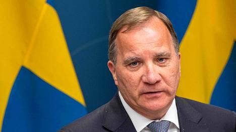 Ruotsin pääministeri Stefan Löfven tiedotustilaisuudessa Tukholmassa 29. toukokuuta 2020.