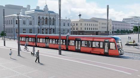 Havainnekuva tulevasta ratikasta Tampereen Keskustorilla.