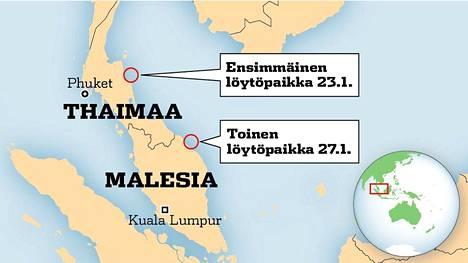 Kumpikin lentokoneen osaksi epäilty metallikappale löytyi käytännössä samalta rannikolta.