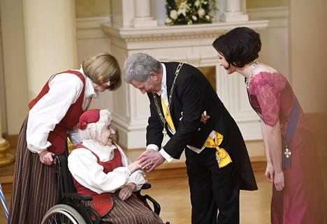 Saima Kukko, 103, oli juhlien vanhin vieras.