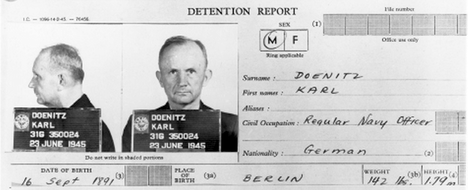 Suuramiraali Karl Dönitzin pidätysasiakirja talletettiin Yhdysvaltain sota-arkistoon.