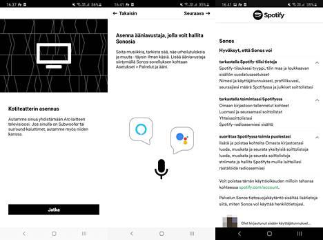 Sovellus ohjaa läpi asennusprosessin ja kysyy halutaanko käyttää virtuaaliavustajaa. Jos Spotify-toisto liitetään Sonos-sovelluksen osaksi, valmistaja kerää tietoja.