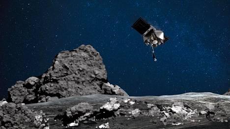 Taiteilijan näkemys Osiris-Rexistä Bennu-asteroidin tuntumassa.