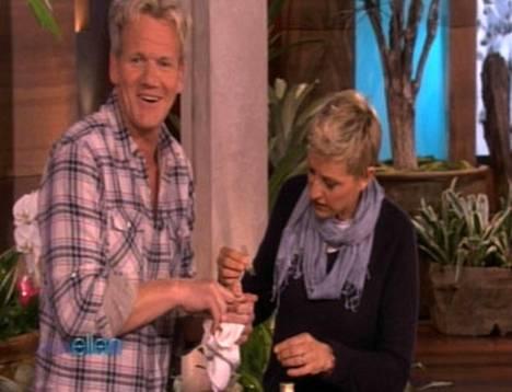 Gordon Ramsay saa sitomisapua Ellen DeGeneresiltä.