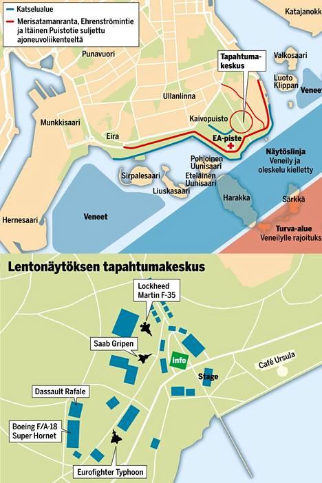 Kaivopuiston lentonäytöksen tapahtumakeskus sijaitsee aivan Helsingin eteläkärjessä. Näytöslinja kulkee Kaivopuiston edustan merialueen yllä. Harakan saari on näytöslinjan keskipiste.