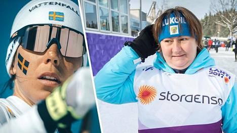 Muun muassa Ruotsin tähtihiihtäjä Charlotte Kalla (vas.) ihmetteli Venäjän maajoukkueen vauvabuumia.