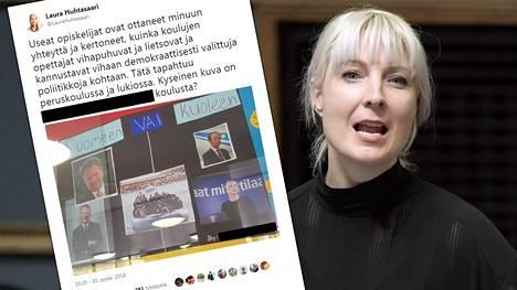 Laura Huhtasaaren päivityksessä näkyy tamperelaisen koulun nimi ja juliste, jossa on kolmen alaikäisen tekijän etunimet.