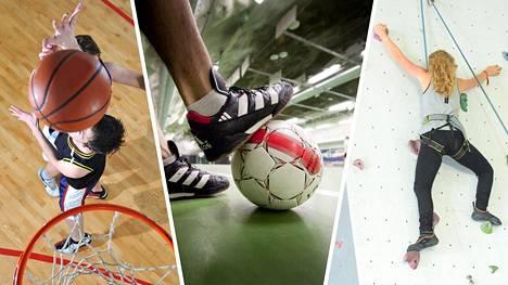 Koripallon ja sisäjalkapallo eli futsal ovat esimerkkejä isomman riskin lajeista. Seinäkiipeilyssä desinfiointi on tärkeää.