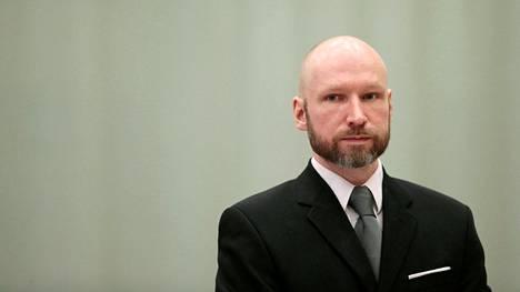 Anders Behring Breivik kuvattiin vetoomuksensa käsittelyssä Telemarkin vankilassa Norjan Skienissä tammikuussa 2018.