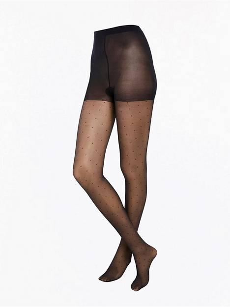 Nämä sukkahousut ovat 20-denieriset, 12,99 €. Suuri kuosi sukkahousuissa suurentaa, pieni pienentää.