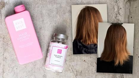 Kuvista näkee, kuinka paljon Niinan hiukset kasvoivat kuukauden testijakson aikana.