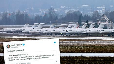 Guardian-lehden mukaan Davosin lähellä sijaitsevilla lentokentillä on pyörinyt tämän viikon aikana peräti 1500 yksityiskonetta.