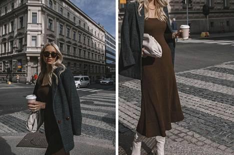 Bleiseri Ganni, mekko ja saappaat Zara, aurinkolasit Chimi Eyewear, laukku Bottega Veneta.