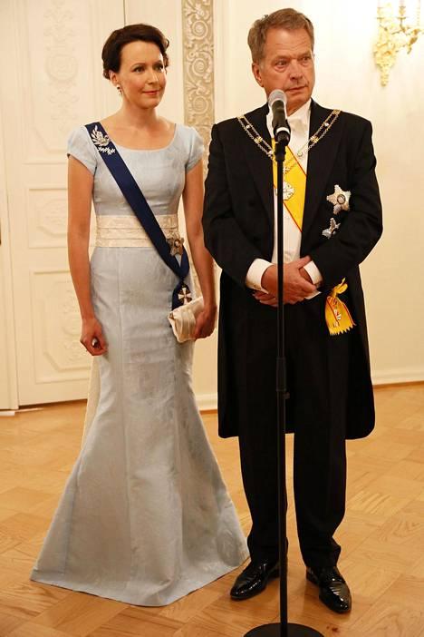 Vuonna 2014 Haukio pukeutui hempeän vaaleansiniseen.