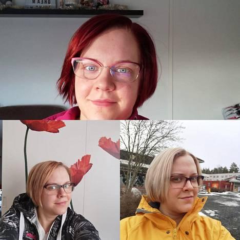 Vaaleahiuksinen Emma kokeili myös tummaa punaista.