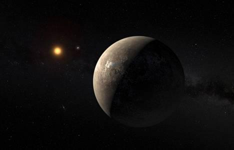 ESA:n julkaisema havainnekuva Proxima Centaurista ja sitä kiertävästä planeetasta.
