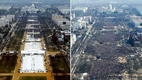 Vasemmalla näkymä kohti Capitol Hillia Trumpin virkaanastujaisten aikaan kello 12, oikealla sama paikka Obaman virkaanastujaisten aikaan vuonna 2009.