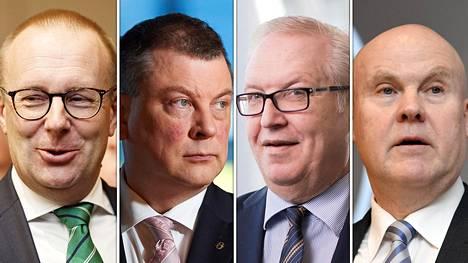 SAK:n puheenjohtaja Jarkko Eloranta, EK:n johtaja Ilkka Oksala, Akavan puheenjohtaja Sture Fjäder ja STTK:n puheenjohtaja Antti Palola.