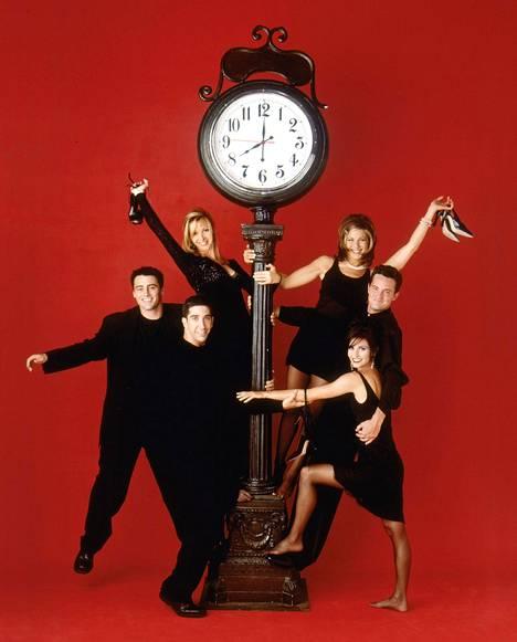 Frendit-sarjan tähdet Lisa Kudrow, Matt LeBlanc, David Schwimmer, Jennifer Aniston, Matthew Perry ja Courteney Cox.